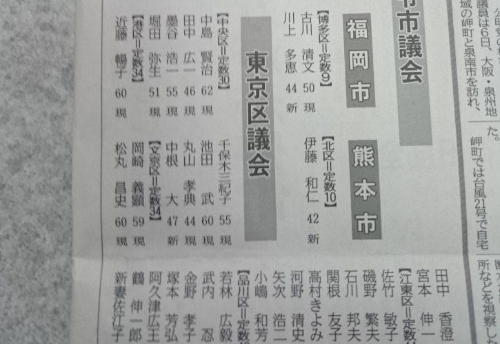 公認が掲載された公明新聞
